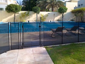 Pool safety fence at the Meadows, Dubai.