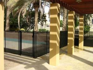 Pool safety fence at Al Mahra, Arabian Ranches, Dubai.
