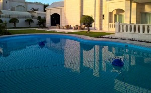 Pool safety net in Doha, Qatar.
