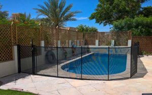 Pool safety fence at Al Furjan Villas, Dubai.