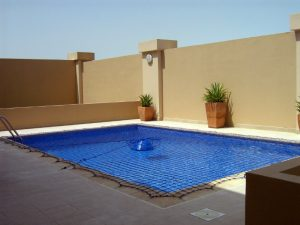 Pool safety net at Golf Gardens, Abu Dhabi
