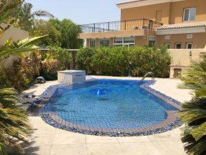 Swimming pool safety net at Arabian Ranches, La Coleccion